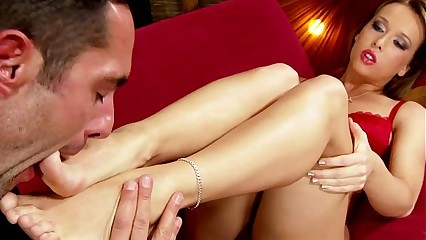 Footjob wings babe gets soles worshiped