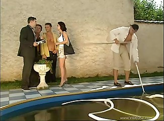 Realtor poolside gangbanged wide of portion publicly