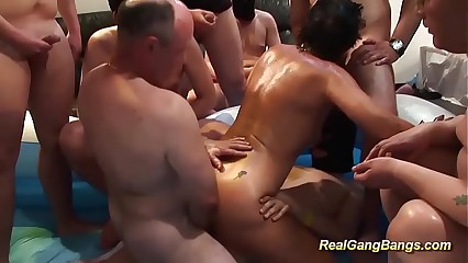 obese oiled Milf obtainable be fitting of gangbang
