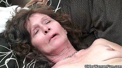Saggy granny around stockings masturbates puristic pussy