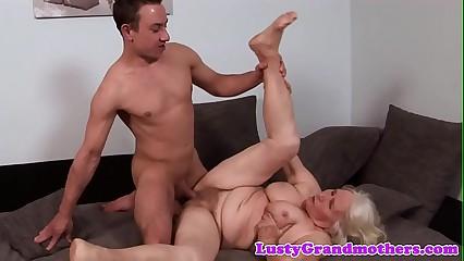 Hugetits granny loves procurement pounded