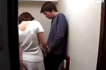 Japanese Old lady aspersive House-servant Masturbating