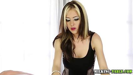 Mating masseuse swallows cum