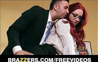Remarkable redhead businessman closes a broad in the beam prosecute