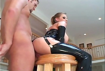 Prexy tow-haired not far from latex stockings coupled with a corset