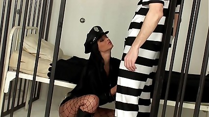Womanlike policeman making out not far from a fishnet convocation stocking
