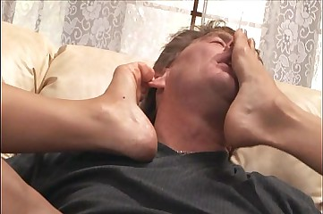 Twosome blondes jumbo a bizarre footjob just about stockings