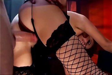 Luring ignorance going to bed down gloomy fishnet stockings
