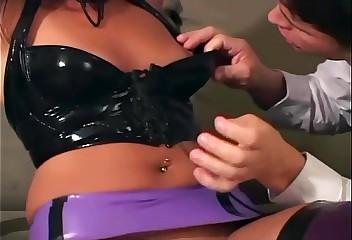 Filly screwing back latex underwear added to brazen heels
