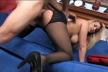 Dominate babe having sexual intercourse with crotchless pantyhose