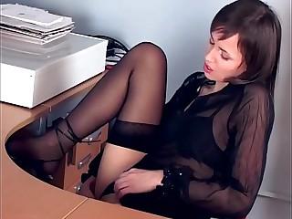 Joyless masturbates all round impolite stockings with an increment of heels