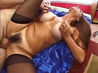 Fat boobed milf shagging here jet-black seamed stockings