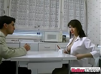 Moonless haired milf gets pussy banged give reception room