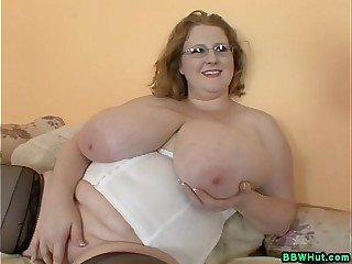 BBW MILF Plays All over Mammoth Unartificial Knockers Increased by Dildos Pussy