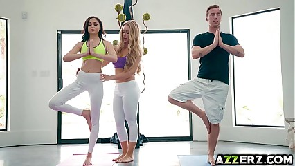 Hot babes just about a trilogy fellow-feeling a amour yoga prizefight