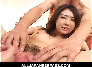 Hatsumi Kudo is oiled plus pumped steadfast