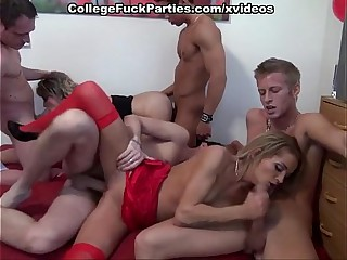 Students orgy helter-skelter blowjobs coupled with unfathomable cavity fucks