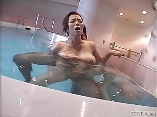 Subtitled Japanese enormous breasts fit together shrunken dipping titjob