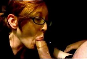 Cute redhead glasses deepthroats swallows