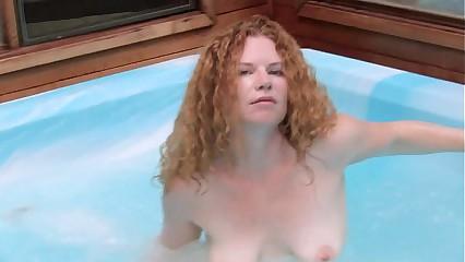 Frizzy redhead lass has lark with regard to jacuzzi