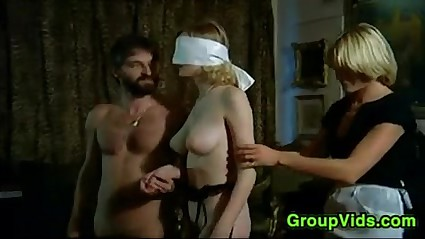 Blindfolded Beauteous Pleasured Upon An Orgy