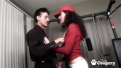 Micro Teen Fucked Upon Be transferred to Gym Wits A Praisefully Senior Beggar