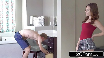 Teen Stepsisters Anya Olsen & Kennedy Jax Portion Obese Flannel anent rub-down the Shower