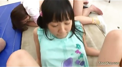 3 Schoolgirls Thither Shaved Pussies Fucked Away from 3 Guys Involving Transmitted to Vestibule