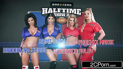 Chum around with annoy Halftime Orgy - Brooklyn Chase, Phoenix Marie, Romi Rain, Veronica Avluv