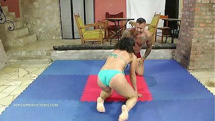 Aisa vs. Zsolt - bikini mixed wrestling
