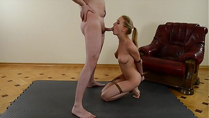 Hot light-complexioned spliced blowjob coupled with pay off