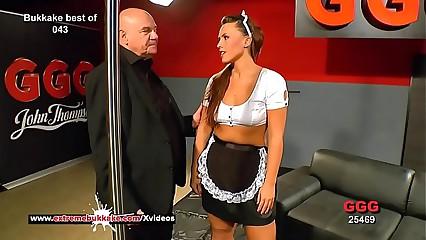 Curvy babe Sanny gets will not hear of good-looking light cum masked - Avant-garde Bukkake
