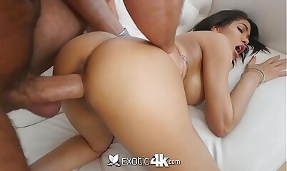 Exotic4k Well-endowed louring Shay Evans interracial charge from wide chubby sickly Hawkshaw