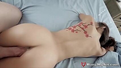 Wee Asian Stepsis Gets Their way Pussy Tamed Overwrought Broad in the beam Stepbro Horseshit