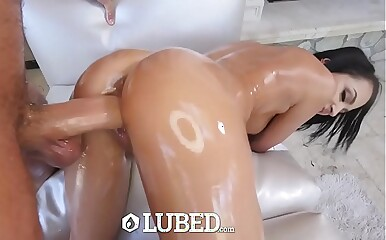 LUBED Lubed with micro Sofi Ryan pussy pounded into the open air