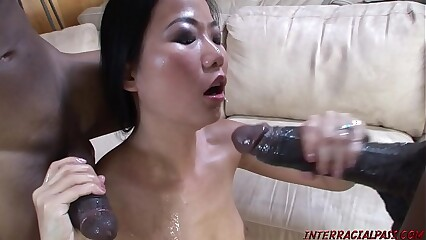Asian takes 2 mammal threatening cocks