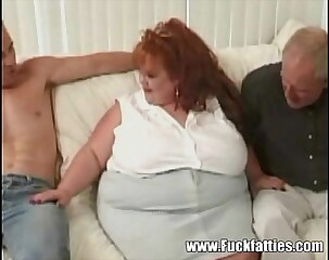 Prominent BBW Redhead Takes Greater than Twosome Monumental Cocks