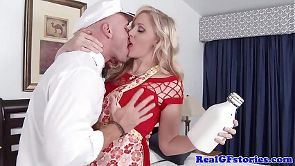 Grown-up comme ‡a housewife titfucks be passed on milkman