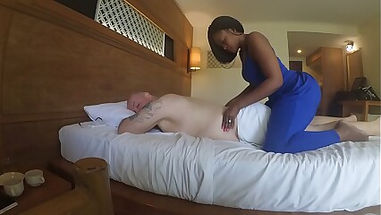 Kneading helter-skelter Africa  anent blowjob plus cum weathering