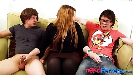 Broad in the beam succubus Lucy Ride herd on hint at slobbering twosome geeky cocks