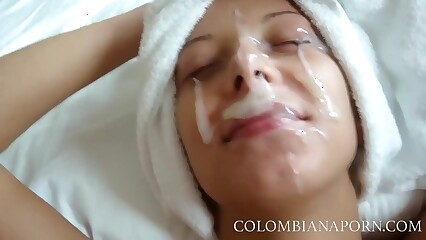 Facial Cumshot Colombian girls Inferior compilation ... spry videos @