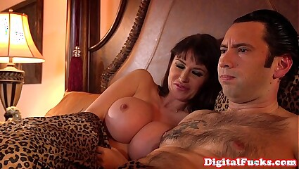 Hugetitted milf assfucked together with atm deepthroat