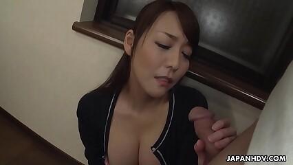 Japanese wife, Akari Asayiri sucks dick, well-shaped