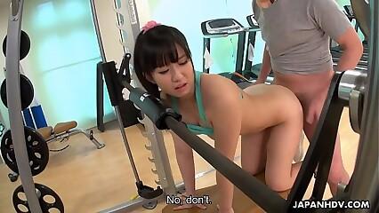 Teeny Japanese babe Yui Asano gets doggy called approximately gym