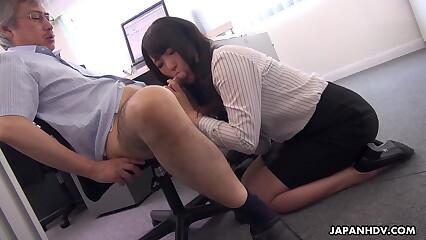 Japanese secretary, Marina Aoyama is naughty, chock-a-block