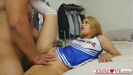 Cheerleader stepsis got fucked unconnected with their way naff stepbro