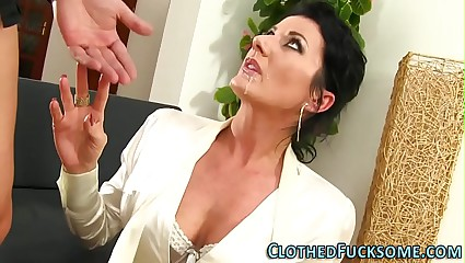 Spectacular laddie takes facial