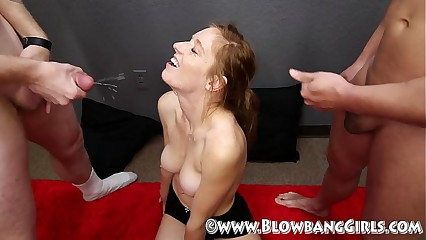 Newbie Caleigh Blowbangs Gets Say no to Exposure Masked With Cum