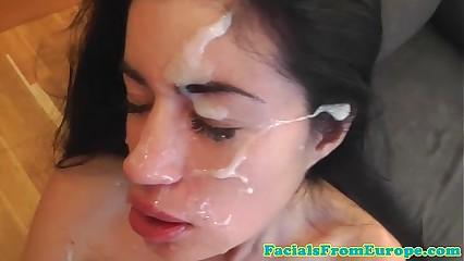 Facial cumshot fond floosie